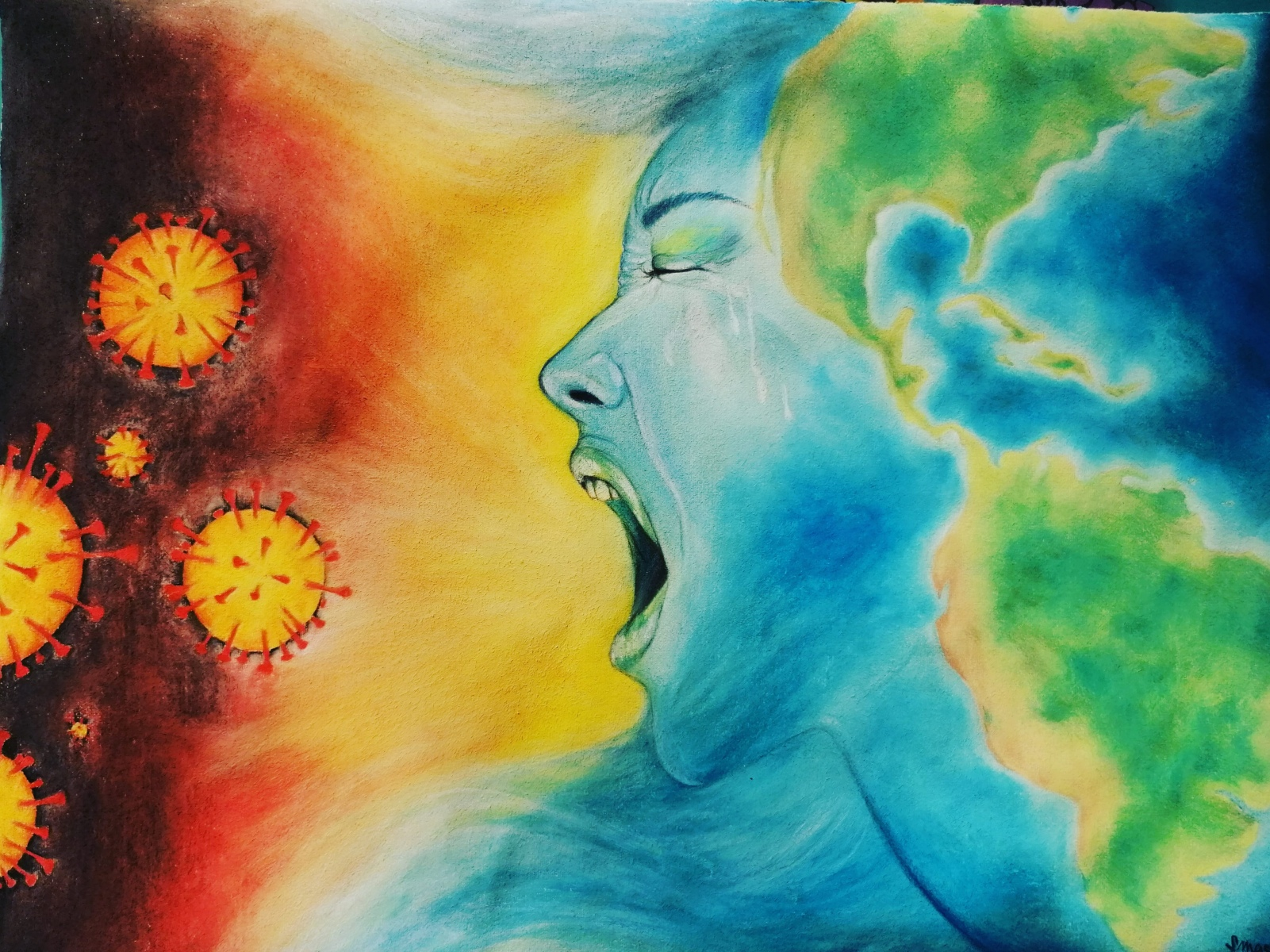 Pastell-50x70-The-World-against-Corona-